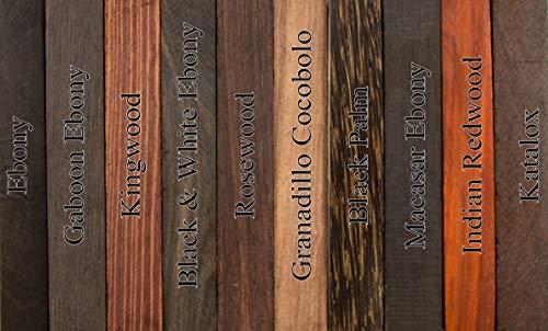 Exotic Wood Pen Blanks 10-Pack: Indian Redwood, Ebony, Granadillo Cocobolo,  Black & White Ebony, Black Palm, Macassar Ebony, Kingwood, Rosewood,