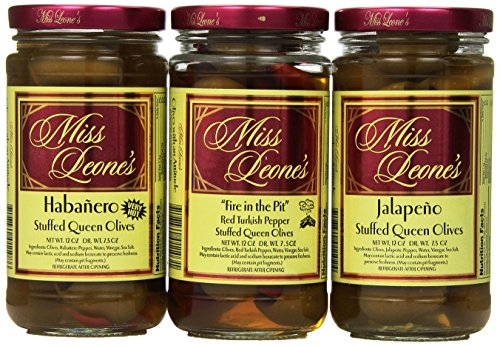 Miss Leone's Stuffed Queen Olives, Habenero, Fire in the Pit, Jalapeno, 12-Ounce Jars (Pack of 3) - Jalapeno Stuffed Green Olives