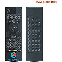 MX3 Backlit Air Fly Mouse with backlight 2.4GHz Mini Wireless Keyboard & infrared Remote Control Learning,With 3-Gyro and 3-Gsensor Best For Android TV Box Android Projector HTPC IPTV PC Pad
