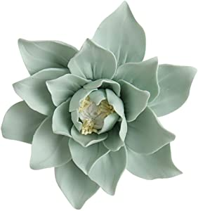 ALYCASO Handmade 3D Ceramic Magnolia Wall Decoration TV Wall Hanging Home Decor for Bedroom Living Room Green 4.7in
