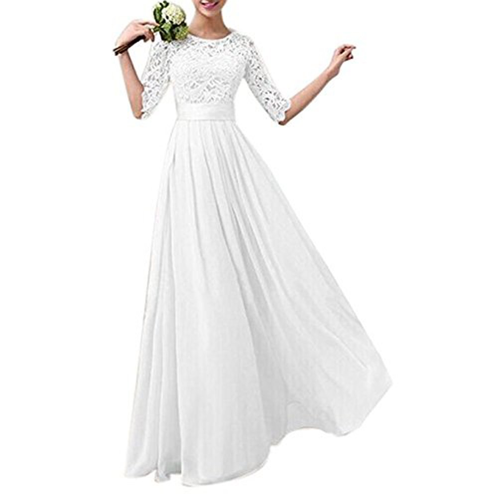 Jessica CC Women' s Crochet Lace A-line Wedding Bridesmaid Maxi Chiffon Dress Formal Gown (X-Large, White)