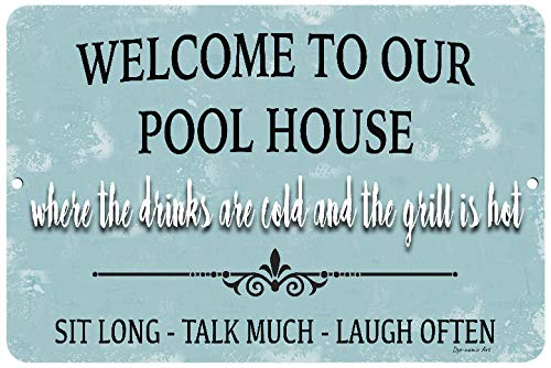 Cartel de bienvenida con texto en inglés Welcome to our Pool ...