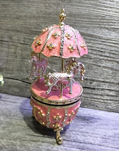 Floral Egg with Horse Carousel Trinket Box Easter Egg Horse Carousel Crystal Music Box (Pink)