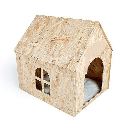 Eco Friendly Nature Wooden Dog Cat Pet House Cave Bed Indoor or Outdoor Use
