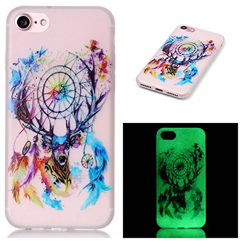 Price comparison product image iPhone 7 Case,  Luminous Noctilucent Glow in the Dark Case Matching Design Protective Phone Back Cover TPU Shell Case for Apple iPhone 7 4.7 inch (deer head wind chimes)
