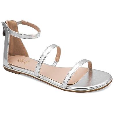 f32cf1a27a872 tresmode Women s Metallic Silver Dual Strap Flat Sandals 3 UK India  (36 EU