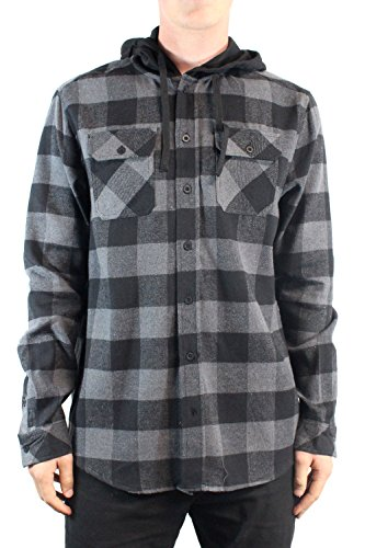 golden-tree-mens-flannel-long-sleeve-hoody-button-down-shirt-mediumblack-charcoal