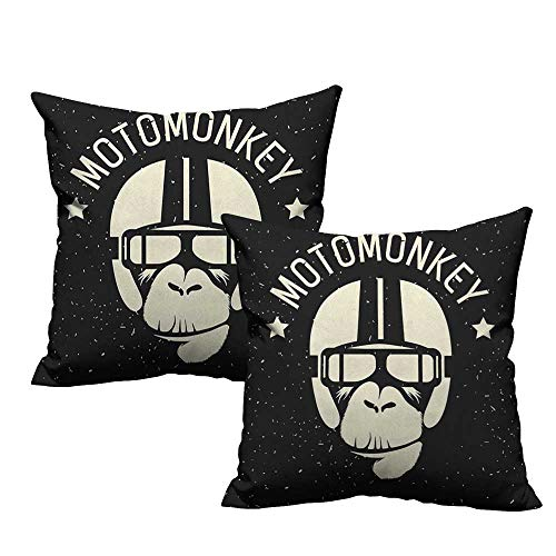 RuppertTextile Couple Pillowcase Outer Space Sign Alien Monkey with Astronaut Costume in a Galaxy with Stars Poster Soft and Durable W20 xL20 2 pcs]()