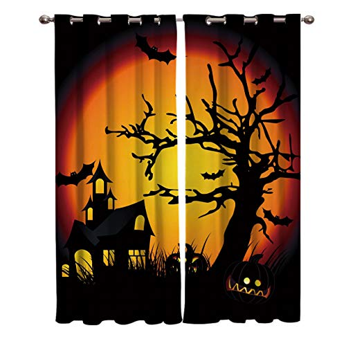 FunDecorArt Blackout Curtains, Halooween Cartoon Castle Dead Tree Bat Polyester Shade Curtains, 2 Panel Drapes/Window Treatment for Bedroom/Living Room/Office/Teen Room, 55 W x 39 L inches -