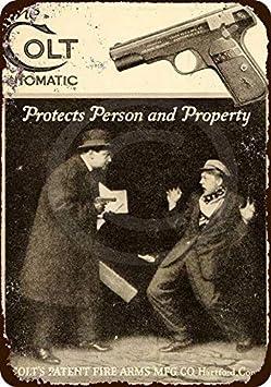 qidushop 1915 Colt Pistolas automáticas para protección Reproducción Metal Sign for Home Wall Art Post Placa para Mujeres Hombres 20 x 30 cm