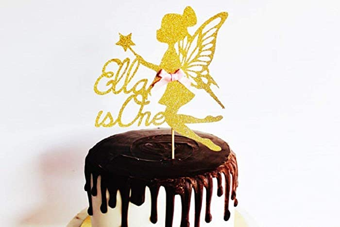 Fairy Gold Glitter Card Name & Age Birthday Cake Topper, custom ...