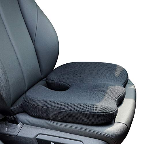 Dreamer Car Balanced Softness Memory Foam Driver Seat Cushion Seat Pad with Adjustable Strap- 3D Mesh Cover Orthopedic Design Car Cushion to Relieve Hip Pain and Sciatica -Black