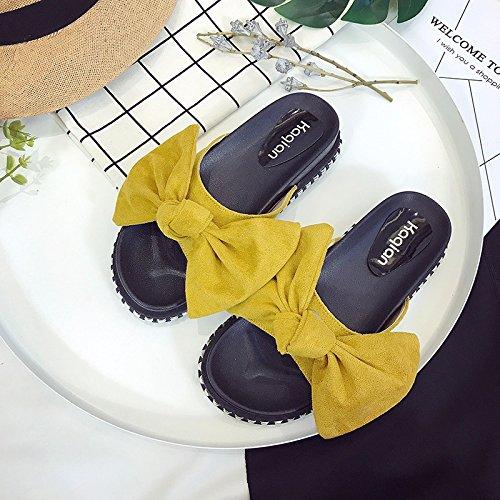 RUGAI-UE Cool zapatillas mujeres estudiantes de verano Anti-Skid plana una pajarita zapatos de mujer Yellow