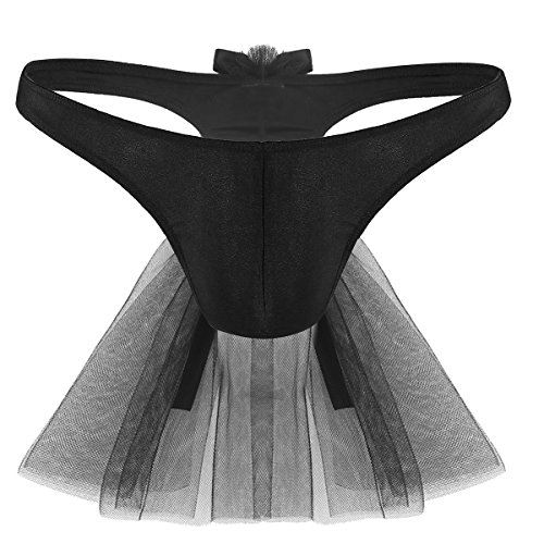 MSemis Men's Bridal Wedding Lingerie Sissy G-String Thongs Attached Mesh Veil Black Medium (Waist -