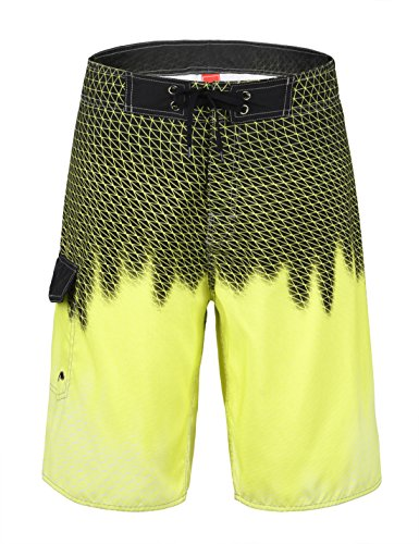 Unitop Men's Quick Dry Lightweight Wave Swim Trunks Yellow 34