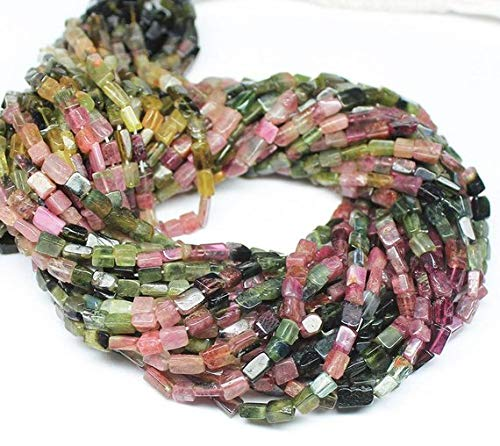 Beads Bazar Natural Beautiful jewellery 2 Strand Multi Tourmaline Smooth Rectangle Chiclet Gemstone Loose Craft Beads 14