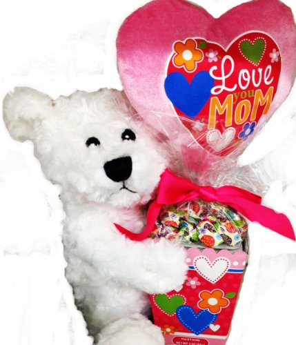 'I Love You Mom, Beary Much!' Gift Basket with Teddy Bear, Candy & Flowers