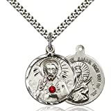 Sterling Silver Scapular Pendant with 3mm July Red Swarovski Crystal 7/8 x 3/4 inches with Heavy Curb Chain