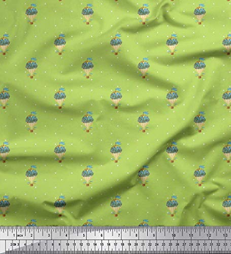 Soimoi Green Crepe Silk Fabric Dot & Hot Air Balloon Holiday Print Sewing Fabric BTY 42 Inch Wide