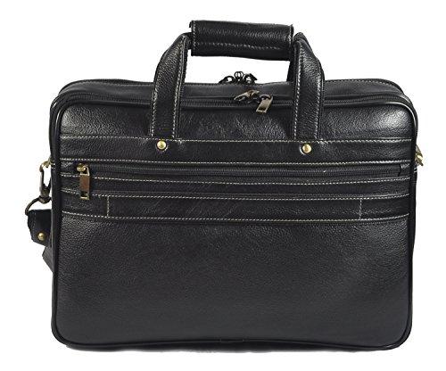 laveri auténtica maletín portátil Messenger de piel cruzado bolso bandolera 424 negro