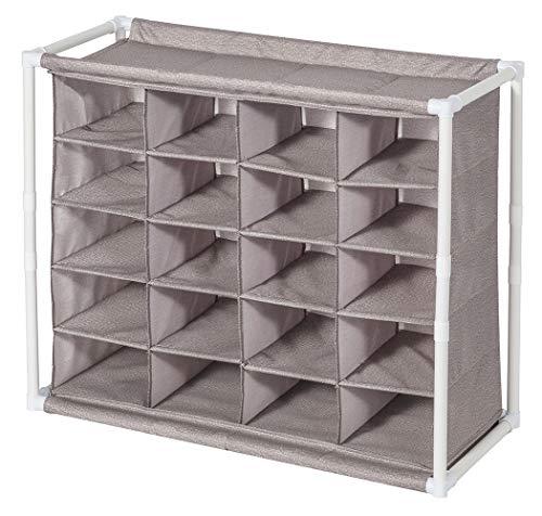 STORAGE MANIAC 5-Tier 20-Cube Cubby Organizer Free Standing Shoe Rack, Portable Shoe Cubby Storage, Coffee