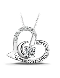 """925 Sterling Silver Necklace, T400 """"I Love You to the Moon and Back"""" White Moon Heart Pendant Necklace 18"""""""