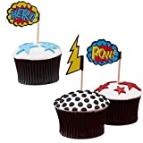William & Douglas Superhero Pop Art Cupcake Picks Party Supplies Decoration for Superhero Theme Children's Birthday Party Celebration (20 Pack)