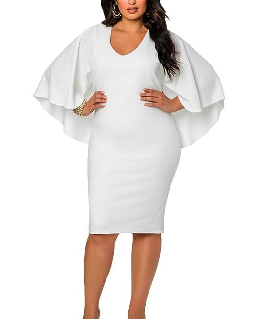 1522ffa6222b Donna Taglie Forti Vestito Aderente Tubino Abito Da Cerimonia Corti   Amazon.it  Abbigliamento