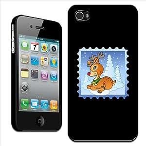 Fancy A Snuggle - Carcasa rígida para Apple iPhone 4 y 4S, diseño de Rudolf el reno