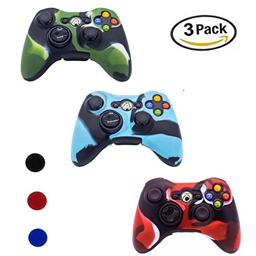 Xbox 360 Controller Case, YiCutte 3 Pack Combo Silicone Protective Game Controller Case with 4 Thumb Grip Stick Caps for Xbox 360 (XB-360) (Xbox 360 Controller Cases)