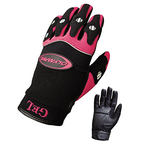 Olympia 712 Gel Reflector Ladies Motorcycle Gloves (Black/Pink, Small) (Olympia Gel)