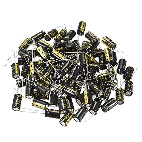 uxcell Aluminum Radial Electrolytic Capacitor with 1000uF 10V 105 Celsius Life 2000H 8 x 14 mm Black 80pcs ()