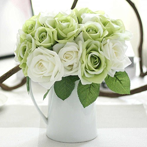 Artificial Flowers, Fake Flowers Silk Plastic Artificial Roses 9 Heads Bridal Wedding Bouquet for Home Garden Party Wedding Decoration (Green White)