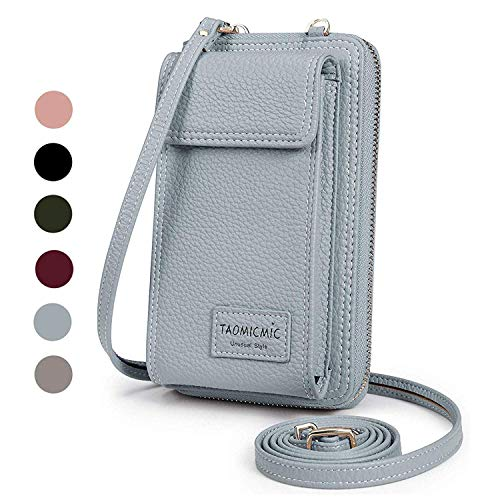 Women Purse Leather Cellphone Holster Wallet Case Mini Small Crossbody Shoulder Bag Messenger Pouch Ladies Handbag Clutch Phone Pockets for iPhone 8 Plus Xs Max X Xr 7/6 Plus Samsung S10+ (Blue)