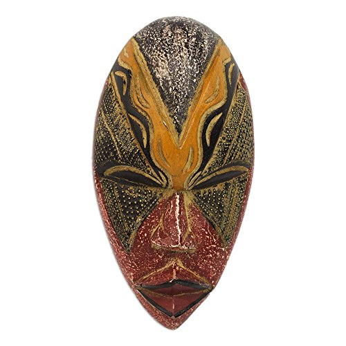 NOVICA Red and Yellow Carved Wooden African Wall Mask from Ghana, Stunning Amahle