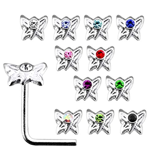 20 Pieces Box Set of Mix Colored Jeweled Butterfly Top 22 Gauge 925 Sterling Silver L Shape Nose Stud ()
