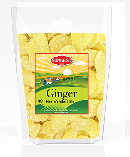 SUNBEST Dried Crystallized Ginger Slices in Resealable Bag (2.5 Lb) (Ginger Slices)