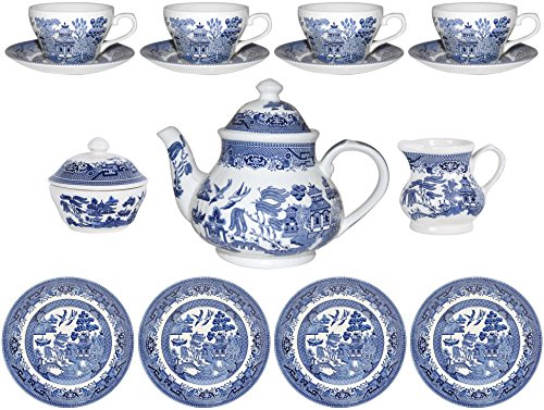 Churchill Blue Willow 15 Piece Tea (Churchill China Blue Willow)