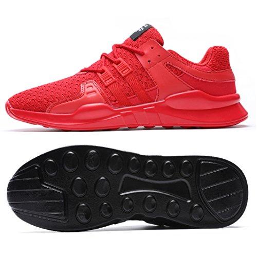 SITAILE Herren Sportschuhe Atmungsaktiv Gym Turnschuhe Leichtgewicht Laufschuhe Lace up Freizeitschuhe Trainer Outdoor Sneaker Shoes Rot