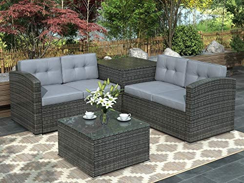 4 PCS Outdoor Sofa Cushioned PE Rattan Wicker Sofa Patio Furniture Set Sectional Sofa Garden Wicker Furniture Set Gray Cushion