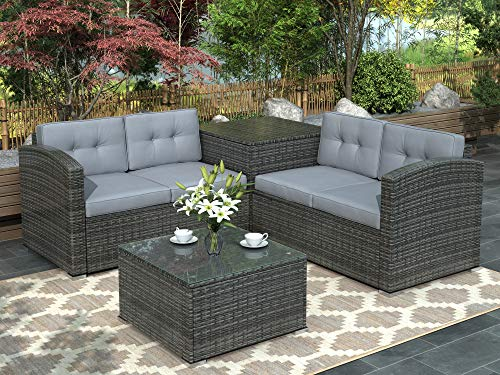 Leisure Zone 4 PCS Outdoor Cushioned PE Rattan Wicker Sectional Sofa Set Garden Patio Furniture Set (Grey Cushions)