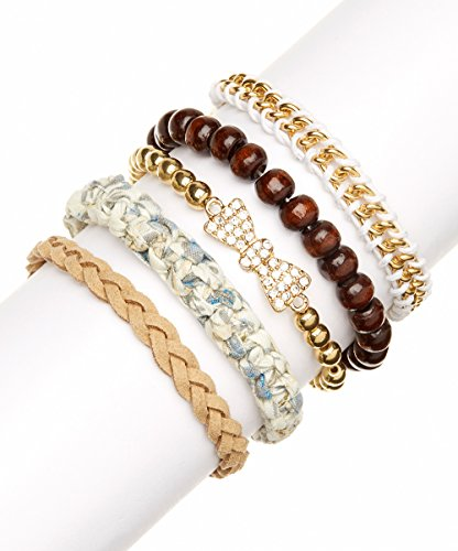 Lux Accessories Bow & Wood Bead Mint/Floral Fabric Flower Suede Braid Arm Candy Friendship Bracelets (5 Pc)
