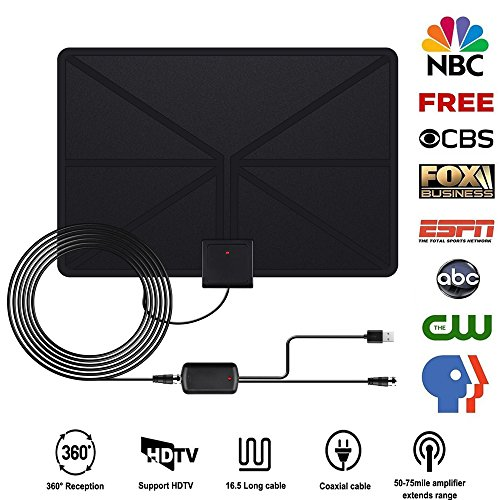 (Debolic TV Antenna,Indoor Digital HDTV Smart Antenna 80 Miles Range Receiver Freeview with Detachable Amplifier Signal Booster USB Power Supply and 13FT Coaxial Cable Kit for All Smart TV)