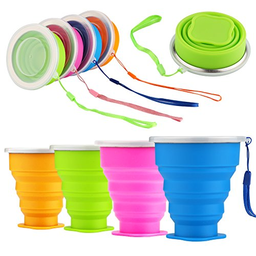 Price comparison product image Accmor Silicone Collapsible Drinking Cup Set,  4 Pack Foldable Expandable Travel Cupswith Lid,  BPA Free FDA Approved Travel Mug for Camping Hiking Trip,  Eco Friendly,  Easy to Clean& Store