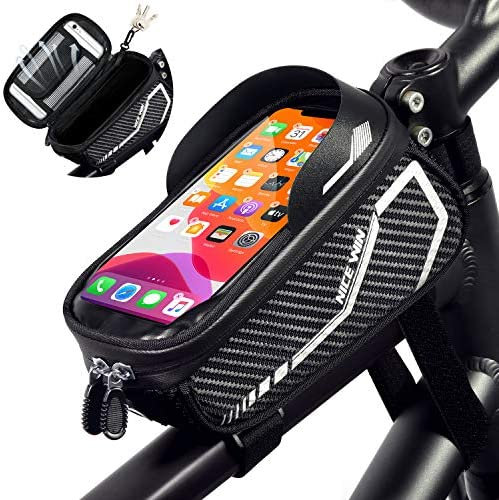 NICEWIN Bike Bag, Bike Phone Holder Bag, Bike Accessories for Adult Bikes, Bike Frame Bags for Bicycles – Waterproof Bike Handlebar Bag for Men and Women, Black