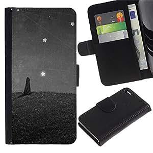 KingStore / Leather Etui en cuir / Apple Iphone 4 / 4S / Estrellas Pintura Cat Wonder Gris Gris