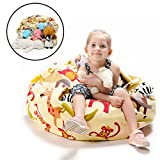 "EXTRA LARGE Stuffed Animals Bean Bag Chair Cover-Toy organizer for Kids-YuppieLife Child stuff'n Sit-Clean up the Room- organizing everything-Sturdy Canvas(38""Zoo)"