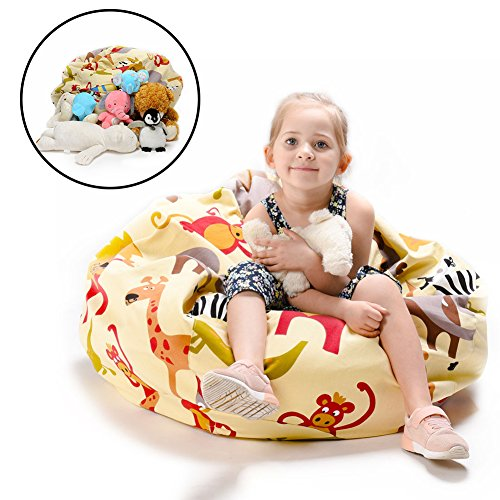 "EXTRA LARGE Stuffed Animals Bean Bag Chair Cover-Toy organizer for Kids-YuppieLife Child stuff'n Sit-Clean up the Room- organizing everything-Sturdy Canvas(38""Zoo) by YuppieLife"