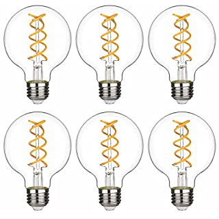 G80(G25) BORT 8W Vintage Globe LED Edison Bulbs, Warm 2700K, Antique LED Filament Light Bulbs, Dimmable, 80W Equivalent, 800LM, E26 Medium Base, Clear Glass (G80-8W-2700K-6 Pack)