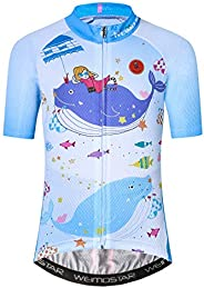 Cycling Jersey Kids,Bike Short Sleeve T-Shirt Boys Girls Cartoon Tops Breathable Quick-Dry S-XXL